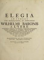 view Elegia in funere ... Wilhelmi Baronis a Lyere / [Pieter Burman].