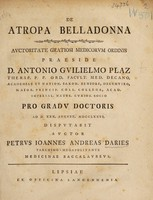 view De atropa belladonna ... / [Peter Johann Andreas Daries].