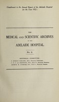 view The Medical and scientific archives of the Adelaide Hospital. no. 2.